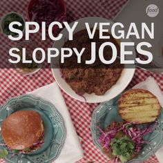 Get Spicy Vegan Sloppy Joes Recipe from Food Network Veggie Recipes, Whole Food Recipes, Vegetarian Recipes, Cooking Recipes, Healthy Recipes, Healthy Meals, Healthy Food, Vegan Lunches, Vegan Foods