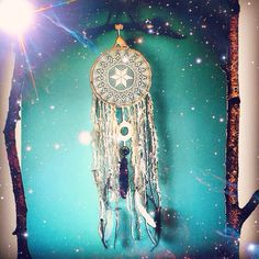 Dreamcatchers made from preloved items. 90cm long. Hung on driftwood with shells, beads and feathers.  Like La Luna Dreamcatchers on Facebook  #La_Luna_Dreamcatchers