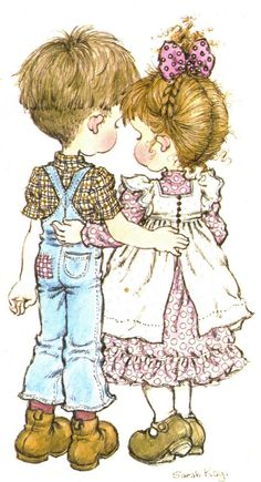 Girl &Boy in love Ilus. Sarah Key, Holly Hobbie, Illustrations Vintage, Illustration Art, Vintage Pictures, Cute Pictures, Retro Images, Jean Miro, Australian Artists