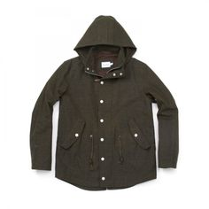 SEASIDE SLICKER  by Steven Alan. Our all weather jacket. Detachable hood, drawstring waist, woolen exterior shell. $348