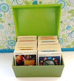 recipe cards in the lime green plastic box
