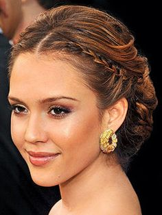 Jessica Alba's Updo with side braids