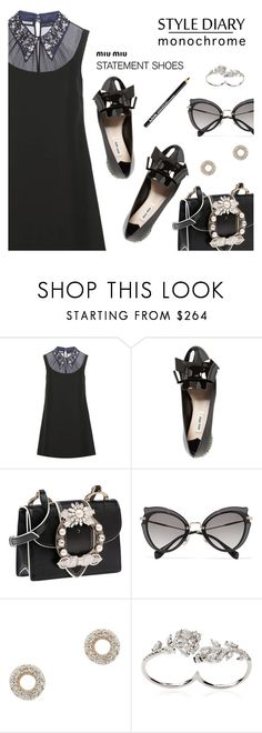 """""""Style Diary: Monochrome"""" by dressedbyrose ❤ liked on Polyvore featuring Miu Miu, Adina Reyter, Apples & Figs and NYX"""