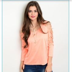 Coral Swiss! Swiss Arm Light Sweater! Coral with open arms in Swiss layers! Absolutely gorgeous! Tops Blouses