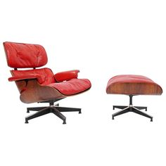 "Rare ""Pepsi Red"" Eames Lounge Chair by Herman Miller for Pepsi Co 