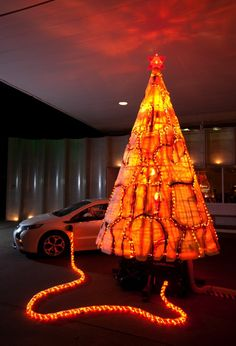 Great! A Christmas tree made out of Chevrolet Volt parts!