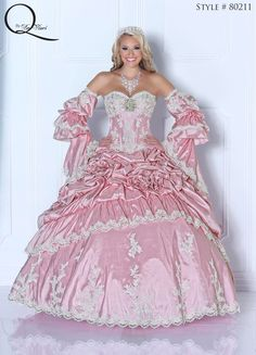 Ivory/Pink Quinceanera dress ~ Quinceanera dresses from Q by Davinci #quince XV años. Available in Rose/Ivory, Claret/Ivory, Turquoise/Ivory