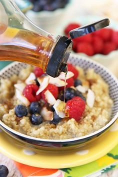 Agave syrup on sweet quinoa- this recipe looks so good!! Thanks Brandy ...