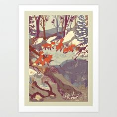 Fisher Fox Art Print by Teagan White . I bought the throw pillow with this print and it's beautiful!