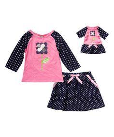 Pink & Blue Floral Dot Skirt Set & Doll Outfit - Toddler & Girls #zulily #zulilyfinds