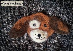Doggy    felt brooch. Handmade  one on it's by cinnamonnhouse