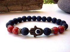Red Jasper Hamsa bracelet Lava bracelet Protection by SoCutiful