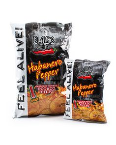 Heat needers know that our famous black bag means spicy chip perfection. The scorching symphony of habanero and natural smoke flavor is mixed with the hardcore crunch only Blair delivers. Chew a few, and Feel Alive! with the fire and flavor you've come to crave!!