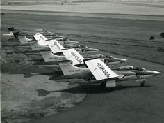 Blackburn Buccaneers, low level attack aircraft, with nuclear weapons capability, of Royal Navy Fleet Air Arm wings folded on a land base, looking like sleeping bats.