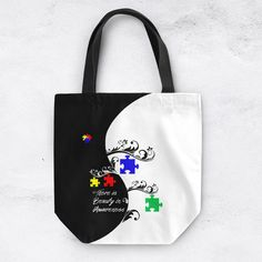 Autism Awareness Tote Bag Can Be Personalized Autism Awareness Bag... ($29) ❤ liked on Polyvore featuring home, home decor, small item storage, black, decorative pillows, home & living, home décor, personalized canvas tote, black canvas tote bag and canvas tote bags