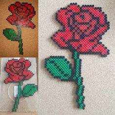 Rose flower hama beads by cosmichelen
