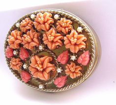 Rare Beautiful Faux Coral Lily Compact