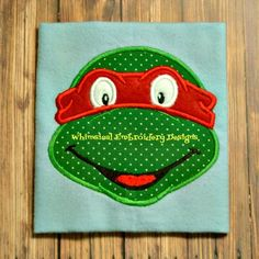 Teenage Mutant Ninja Turtle Face Machine Embroidery Applique Design - Whimsical Embroidery Designs