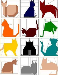 12,5-дюймовый Одеяло Блок Patterns |  Месяц Club Pack - проложенный • Кошки в ВБ и TC ??  по Divonsir Borges