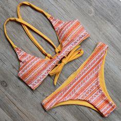 2016 Sexy Bandage Brazilian Women Swimwear Bikini Bikinis Push Up Swimsuit Biquini Bathing Suit Bikini Set maillot de bain Hot ! Fringe Swimsuit, Push Up Swimsuit, Bikini Swimwear, Swimsuits, Halter Bikini, Halter Neck, A Bikini A Day, Brazilian Bikini, Bathing Suits