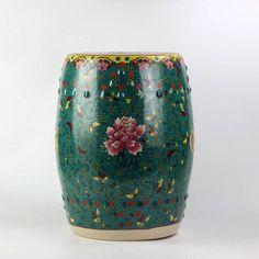 Peony butterfly pattern royal ceramic drum stools,Blackish green garden stool