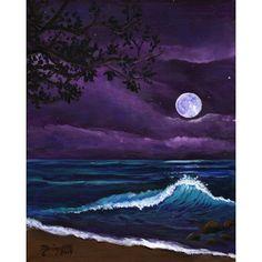 Kauai moon art, Romantic Kauai Moonlight, Kauai Giclee Art Print,... ($26) ❤ liked on Polyvore featuring home, home decor, wall art, moon, beach paintings, unframed wall art, ink painting, sea wall art and giclee painting