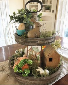Learn how to make Easy Dollar Store Easter Decorations for the Home - Tiered Trays! These are the perfect Spring decorations you can make on a budget to brighten up you home! Seasonal Decor, Fall Decor, Holiday Decor, Galvanized Tiered Tray, Galvanized Tray Centerpieces, Country Decor, Farmhouse Decor, Painted Fox Home, Tiered Stand