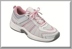 420ffe06c38fa2 OrthoFeet Women s Tahoe Tie-Less Lace White Pink Grey Active Footwear at  Diabetic