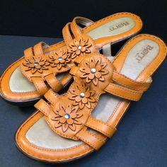 94b9eeaeeec Born Leather Shoes 8 Orange Flowers Wedge Platform Slide On Sandals  Brn   Slides Orange