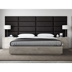 Easily install an elegant upholstered headboard on any type of surface with the Vant Upholstered Headboard Panels. Arrives in a column of panels and available in a variety of sizes/panels, allowing you to create a headboard, accent wall, or focus piece. Grey Upholstered Headboards, Upholstered Wall Panels, Leather Headboard, Headboards For Beds, Panel Headboard, Modern Headboard, Metal Headboards, Bedroom Bed Design, Modern Master Bedroom
