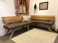 Custom-made corner benches you can easily buy online: corner benches in top quality by a specialist. Personal advice & planning possible. Dining Room Bench, Dining Room Furniture, Home Furniture, Kitchen Banquette, Kitchen Nook, Solid Oak Table, Corner Bench, Trendy Home, Home Living Room