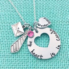 """Personalized """"My heart is in _______"""" Missionary Necklace - Hand Stamped LDS Jewelry by Eight9Designs on Etsy https://www.etsy.com/listing/254905722/personalized-my-heart-is-in-missionary"""