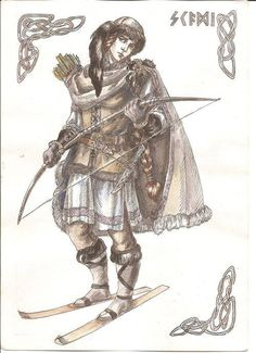 Skaði es la diosa del invierno y cazadora con arco. Es hija del gigante Þjazi, y cuando éste fue asesinado por los Æsir, Skaði marchó a Asgard en busca de venganza. Temeroso de enfrentar a la diosa del invierno, Odín le ofreció a Skaði poner los ojos de su padre como estrellas y desposar un dios. La única condición impuesta fue que debía elegir compañero con sólo ver los pies de los candidatos.  Ella esperaba elegir a Baldr, pero erró el tino y escogió a Njörðr, dios del mar.