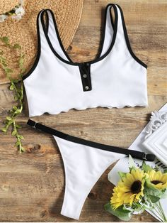 Up to 80% OFF! Faux Button Ribbed Top With Swim Thong Bottoms. #Zaful #Swimwear #Bikinis zaful,zaful outfits,zaful dresses,spring outfits,summer dresses,easter,super bowl,st patrick's day,cute,casual,fashion,style,bathing suit,swimsuits,one pieces,swimwear,bikini set,bikini,one piece swimwear,beach outfit,swimwear cover ups,high waisted swimsuit,tankini,high cut one piece swimsuit,high waisted swimsuit,swimwear modest,swimsuit modest,cover ups @zaful Extra 10% OFF Code:ZF2017