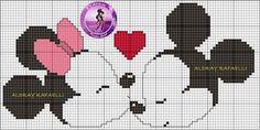 Minnie and Mickey Mouse x-stitch Disney Cross Stitch Patterns, Counted Cross Stitch Patterns, Cross Stitch Designs, Disney Stitch, Animated Disney Characters, Graph Crochet, Perler Patterns, Knitting Charts, Disney Diy