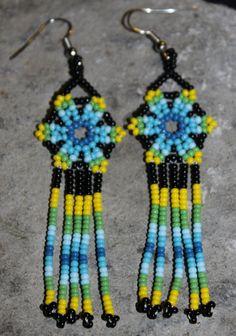 Huichol Peyote Beaded Earrings S by HuicholArte on Etsy