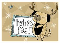 "3 Postkarten ""Frohes Fest"" de HerrPfeffer por DaWanda.com"