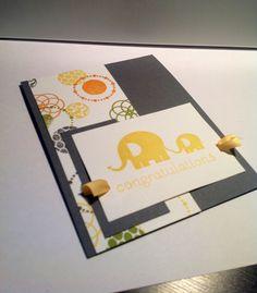 New baby card - elephant. $4.75, via Etsy.