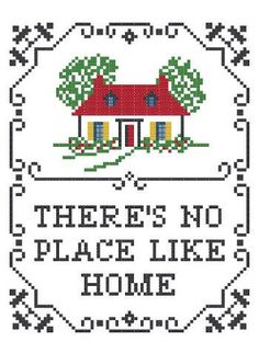 Cross Stitch Pattern PDF - There's No Place Like Home Sampler - Multicolor. $7.00, via Etsy.