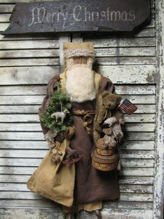 """Olde Toys"" Santa by Folk Artist Sue Corlett~  New items added every Sunday ..  Artist Sue Corlett reserves all creative copyrights 2014."