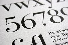 Bauer Bodoni Letterpress Typography Print by BlushPublishing