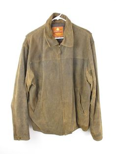 The Territory Ahead Brown Leather Suede Distressed Bomber Jacket Coat LARGE L #TerritoryAhead #FlightBomber