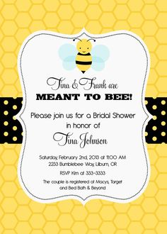 Bumblebee Meant to Bee Bridal Shower Invitation by PartyPopInvites, $17.00