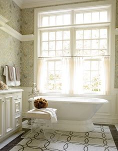 Amazing Classic Home Design Inspiration : Elegant Bathroom Design Finished With White Color Painting Equipped With White Bathtub Design And . Bathroom Window Coverings, Bathroom Window Curtains, Bathroom Windows, Cafe Curtains, Bathroom Floor Tiles, Mosaic Bathroom, Bathroom Wallpaper, Tile Floor, Bathroom Tubs