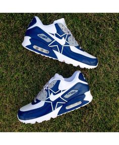 Nike Air Max 90 Custom Dallas Cowboys White Dark Blue Mens Trainers