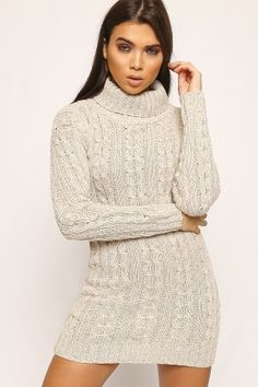 Jeanne Cable Knit Polo Neck Jumper Dress-86204-20