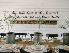 """""""They broke bread in their homes and ate together with glad and sincere hearts"""" Acts 2:46 Can't think of a better verse (cut out of metal) for this wonderful season of gathering friends and family around the table! Here's to November! : @_jeffjones_"""