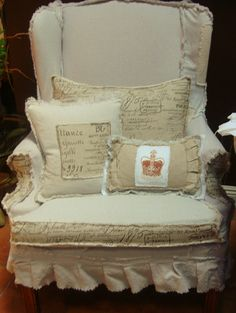 shabby chic slip covered wingback chair by dovesanddahlias on Etsy, $225.00