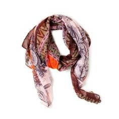 """The beautiful Delhi scarf features ornate, antique inspired designs in a vividly unexpected colors. Sage green and lilac border a rosy pink and orange center. Delhi will add both modern and classic flair. $34.00 - 100% Polyester - 36"""" x 72""""  Available for purchase at https://yolandasgems.kitsylane.com"""