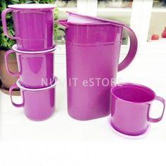 Tupperware Limited Release Preludio Serving Purple Set ( 1X1.7L pitcher + 4 mugs) - NUMIT